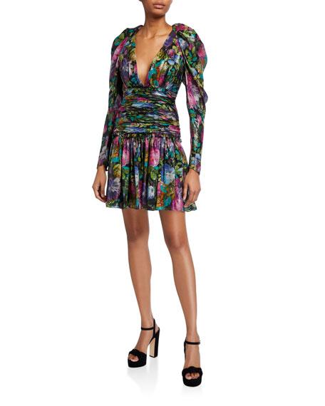 flor et.al Abigail Dark Floral Metallic Voile V-Neck Ruched-Waist Dress