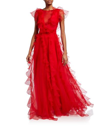 Colima Organza Cap-Sleeve Ruffle Gown