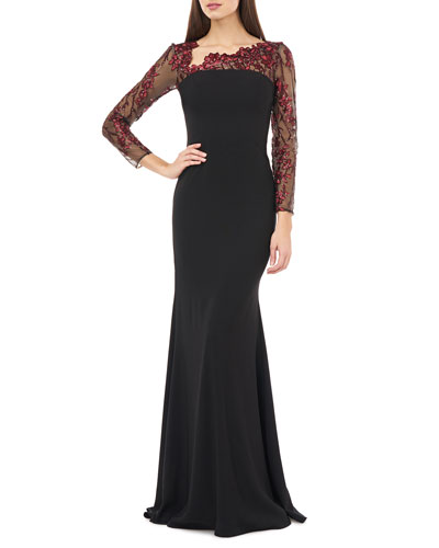 Long-Sleeve Crepe Gown w/ Asymmetrical-Neck & Floral Applique