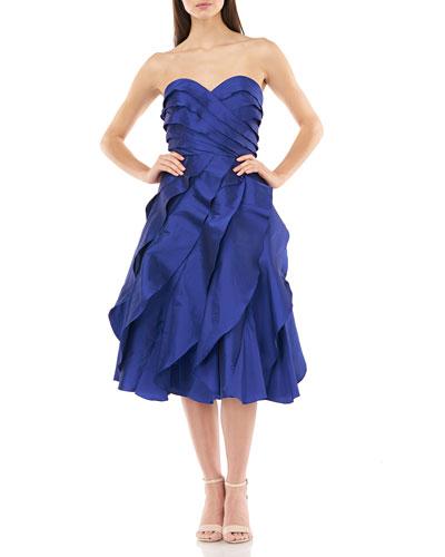 Strapless Multi Tiered Taffeta Party Dress