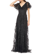 Carmen Marc Valvo Infusion Flutter-Sleeve Ruffle-Neck Gown w/