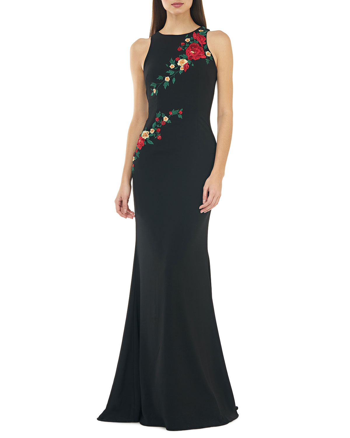 Sleeveless Crepe Mermaid Gown w/ Multi Floral Embroidery