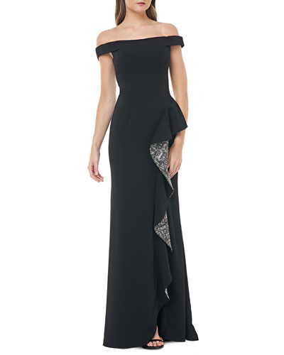 Off-the-Shoulder Crepe Gown w/ Metallic Sequin Lined Side Ruffle