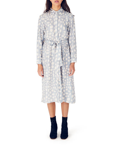 Dada Printed Long-Sleeve Midi Silk Shirtdress