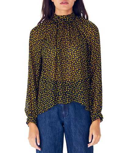 Harper Printed Mock-Neck Long-Sleeve Silk Blouse
