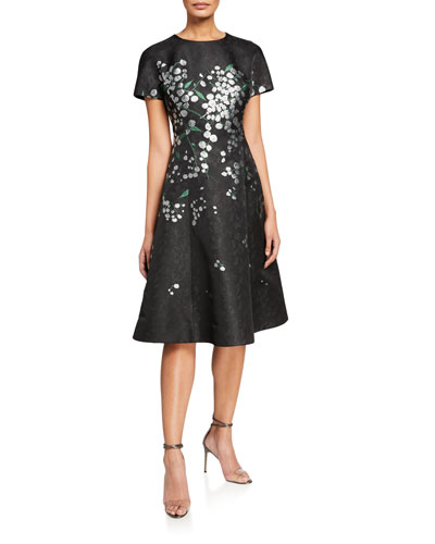 Metallic Floral Embroidered Short-Sleeve A-Line Dress