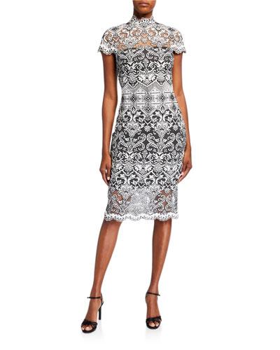 Corded Lace Mock-Neck Cap-Sleeve Dress