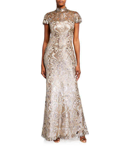 Sequin Lace Mock-Neck Cap-Sleeve Gown