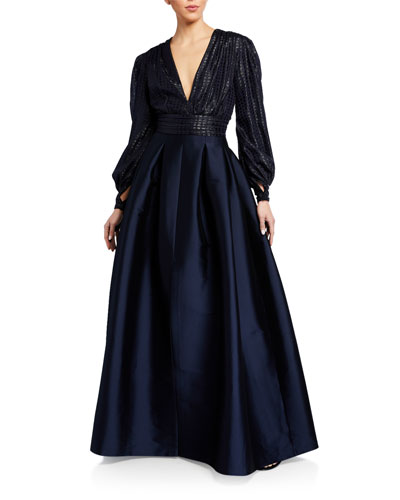 Lauren V-Neck Cuffed Long-Sleeve Gown