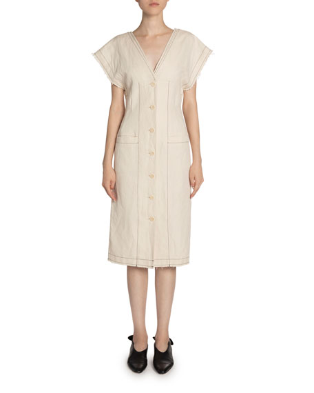 Proenza Schouler White Label Cotton/Linen Short-Sleeve Button-Front Dress