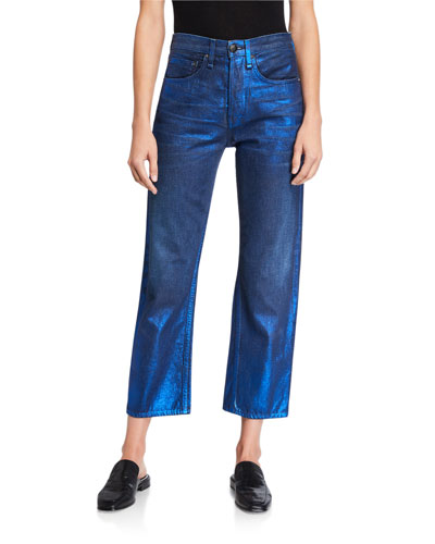 Maya Coated High-Rise Straight Ankle Jeans