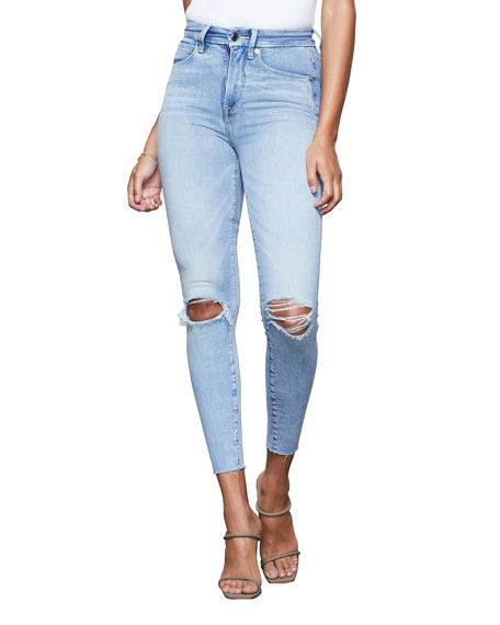 Good American Good Waist Crop Ripped Skinny Jeans w/ Frayed Hem - Inclusive Sizing