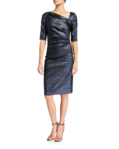Rickie Freeman for Teri Jon Stretch Metallic 1/2-Sleeve Tucked Bodice Sheath Dress