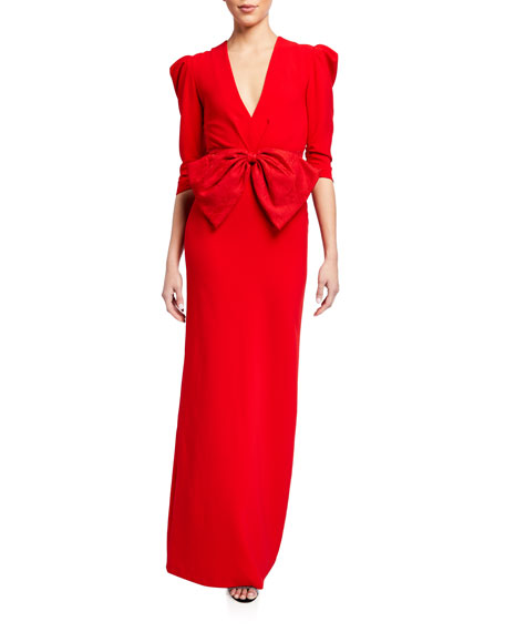 Sachin & Babi Chelsea V-Neck 3/4 Mutton-Sleeve Bow-Front Gown
