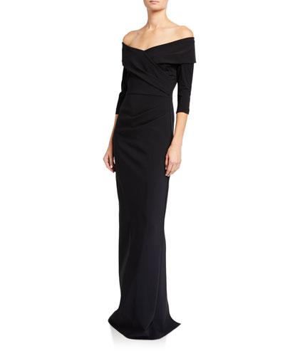 Off-the-Shoulder 3/4-Sleeve Scuba Column Gown