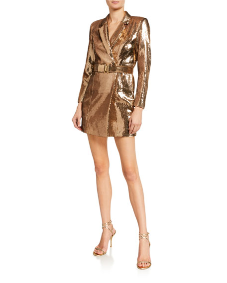 Retrofete Joan Sequined Belted Cocktail Dress