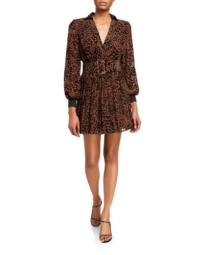 Layla Leopard-Print Belted Dress
