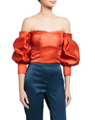 flor et.al Desire Duchess Satin Off-the-Shoulder Balloon-Sleeve