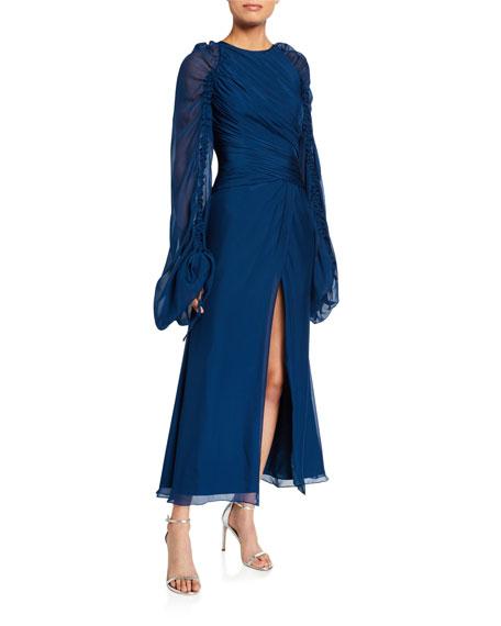 flor et.al Monclova Gathered Satin Gown with Front Slit