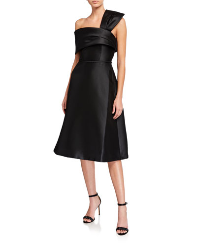 Cuffed Off-The-Shoulder Swing Skirt Mikado Dress