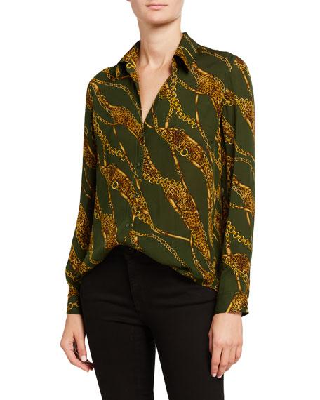 L'Agence Nina Long-Sleeve Printed Blouse