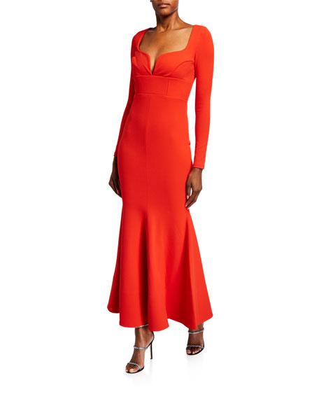 Solace London Danica Sweetheart Long-Sleeve Dress