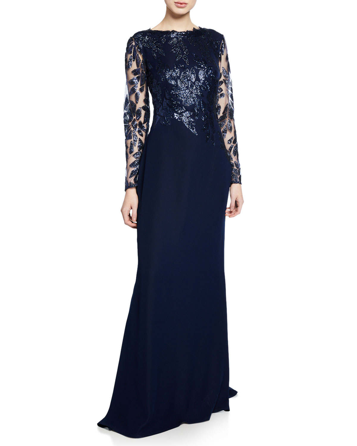 Tadashi Shoji LONG-SLEEVE CREPE GOWN WITH SEQUINED BODICE & SLEEVES