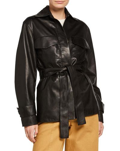 Belted Leather Safari Jacket