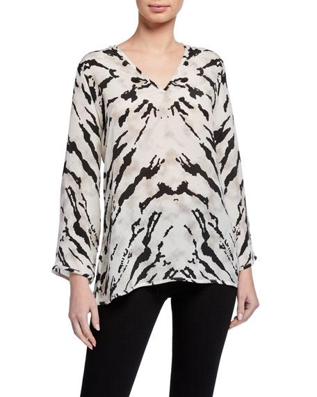 Tolani Simone Zebra-Print Long-Sleeve Silk Tunic