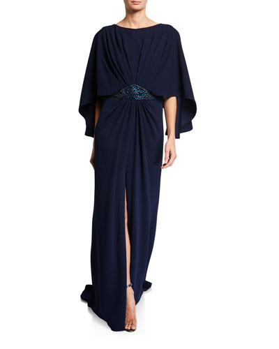 3/4-Sleeve Crepe Gown with Embellishment