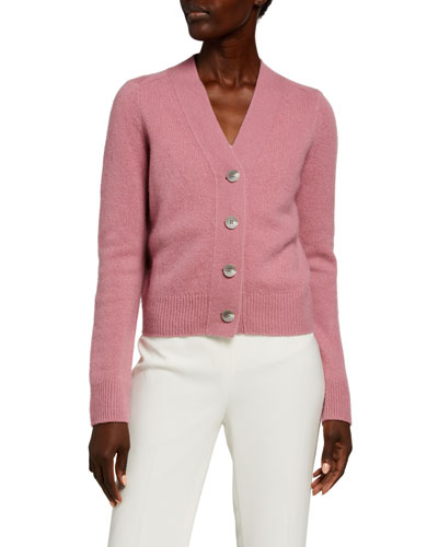 Shrunken Button-Front Cashmere Cardigan