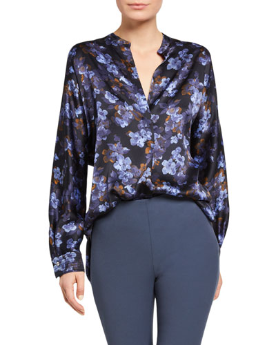Plumeria Blooms Long-Sleeve Silk Blouse