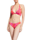 Emilio Pucci Printed Triangle Halter Bikini Top and