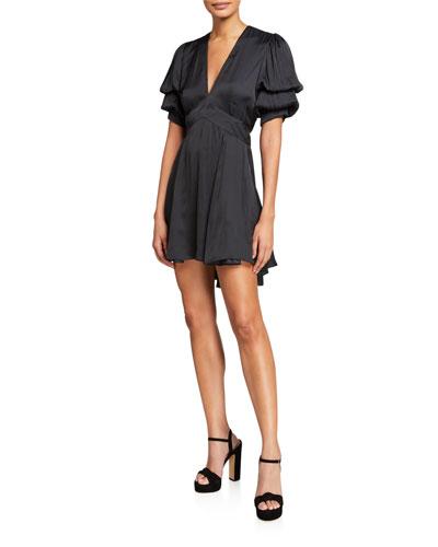 Royas Satin Puff-Sleeve V-Neck Dress