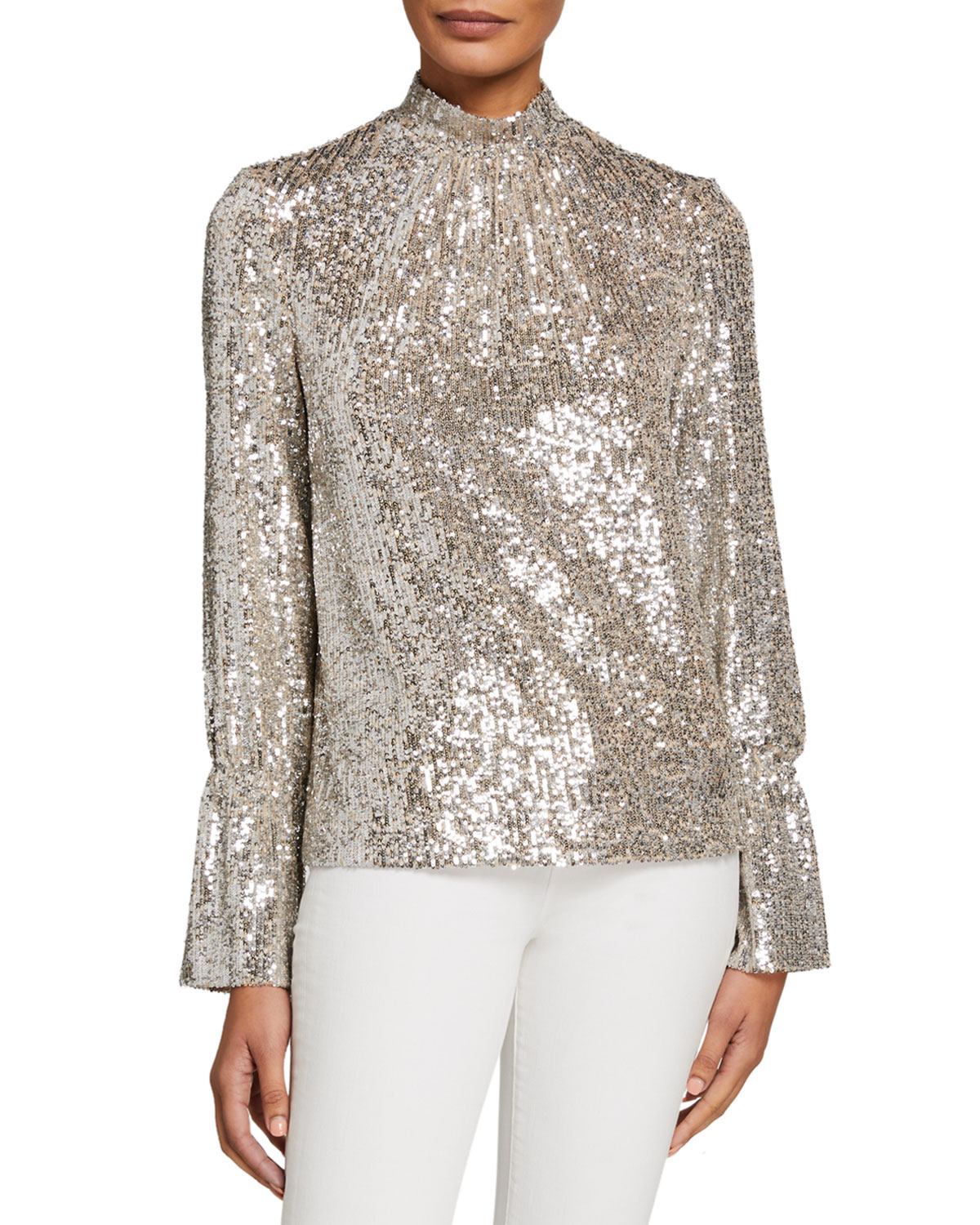 Zadig & Voltaire Tops TUMMY SEQUINED HIGH-NECK LONG-SLEEVE TOP
