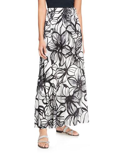 Hibiscus-Print Satin Coverup Skirt