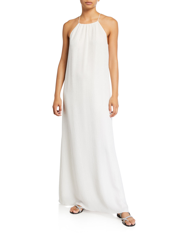 Silk Croc-Jacquard Racerback Coverup Dress