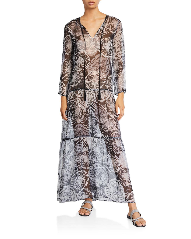 Tiered Dandelion-Print Long Coverup Dress