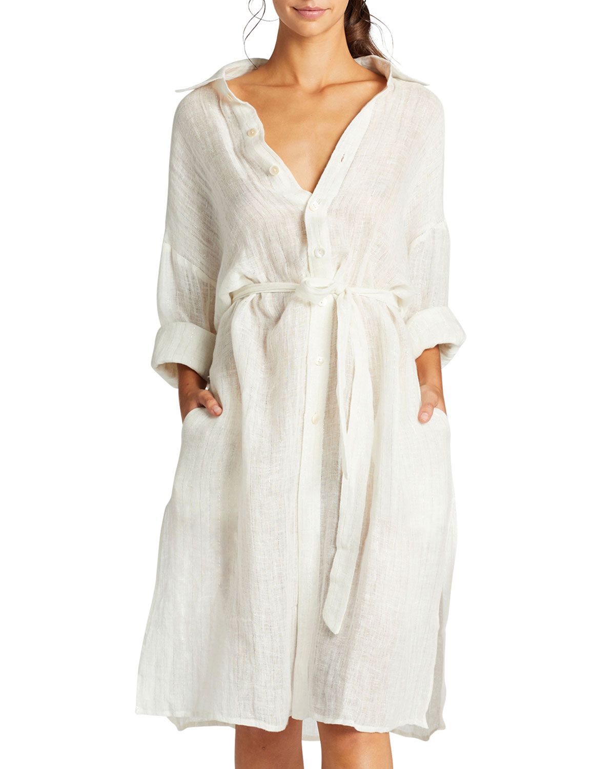 Vitamin A Dresses RIVIERA BELTED COVERUP SHIRT DRESS