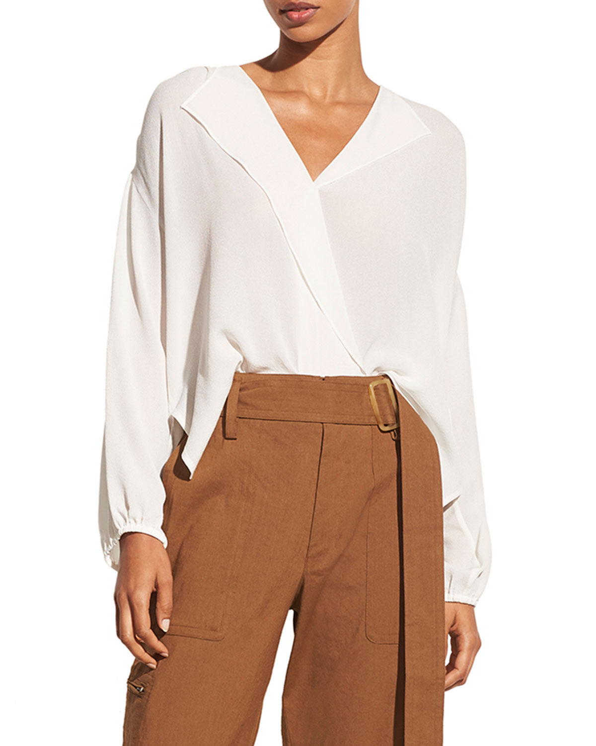 Vince Tops SHIRRED LONG-SLEEVE SILK CREPE POPOVER BLOUSE