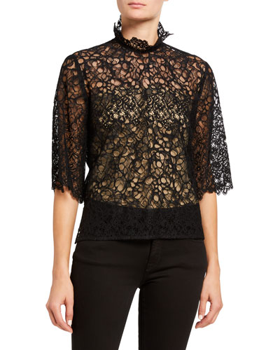 High-Neck Lace Short-Sleeve Top
