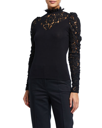 Tamra High-Neck Lace Long-Sleeve Top