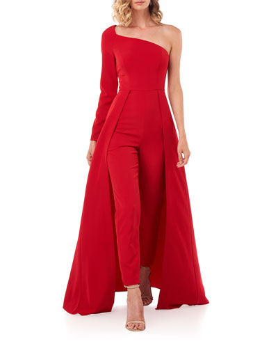 Rebecca One-Sleeve Jumpsuit w/ Skirt Overlay