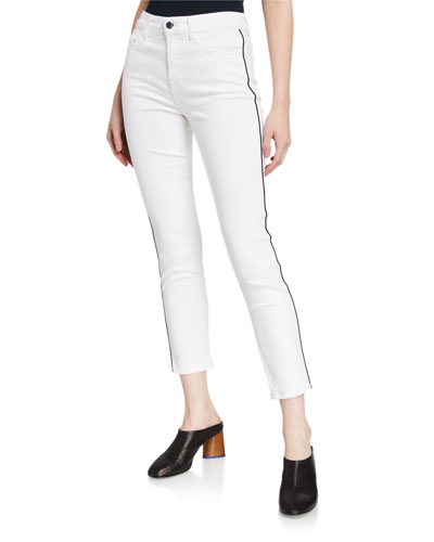High-Rise Ankle Skinny Jeans with Piping