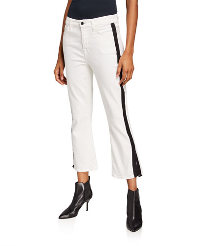 Cropped Boot-Cut Tuxedo Stripe Slit Jeans