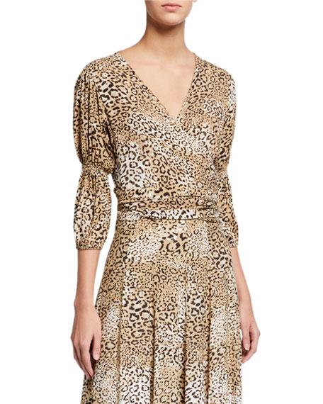 Faithfull the Brand Bisset Leopard-Print Wrap Top