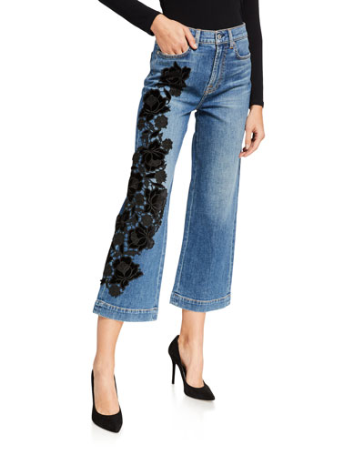 Alexa Cropped Embroidered High-Rise Jeans