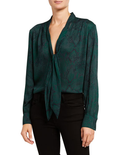 Snake-Print Long-Sleeve Blouse w/ Neck Tie