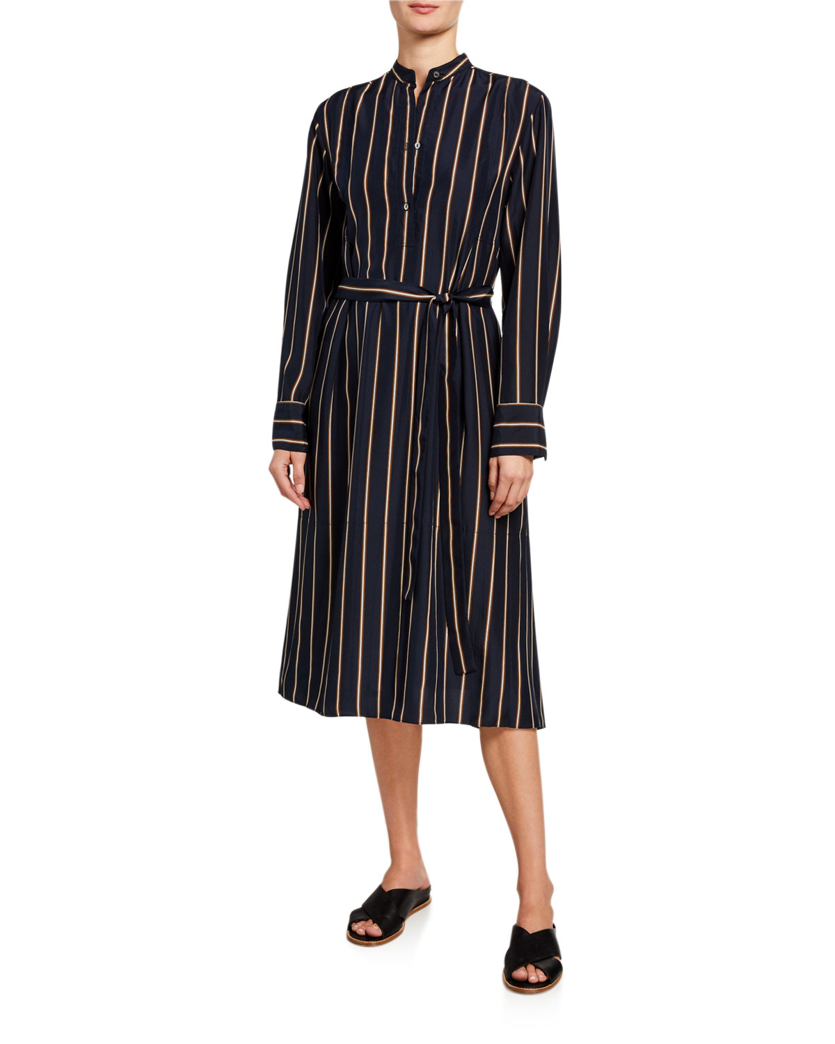 Vince Dresses SILKY STRIPE PANEL BELTED MIDI DRESS