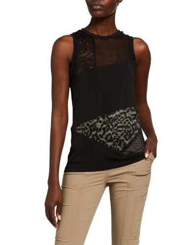 Dina Patchwork Tank with Lace Detail